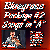 Bluegrass Package #2 - Key of A Tunes for the Fiddle